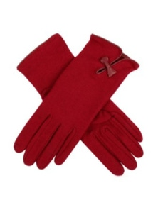 Womens Wool Knit Gloves - Bow and Keyhole Cuff