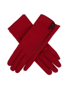 Dents Womens Plain Wool Gloves With Contrast Piping