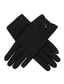 Womens Wool Knit Gloves - Button and Keyhole Opening