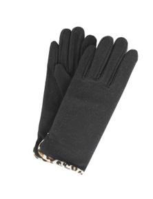 Womens Leopard Print Trim Gloves
