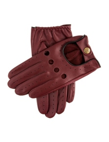 Dents Delta Men's Classic Leather Driving Gloves - Wine/Black - Large