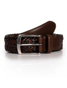 Dents Men's Stretch Plaited Leather Belt - Brown/Navy