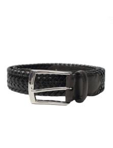 Dents Men's Stretch Plaited Leather Belt - Black/Brown