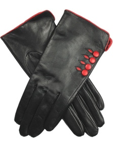 Dents Women's Leather Gloves With Button Detail Piped Cuff And Silk Feel Lining