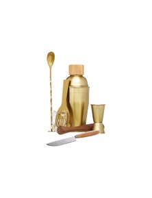 Bc Cocktail Set 6pc Brass Gift Boxed