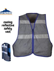 Portwest Cooling Reflective Safety Vest Summer Protective Workwear - Grey