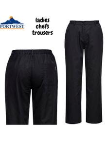 Portwest Women's Rachel Chef Trousers Pants - Black