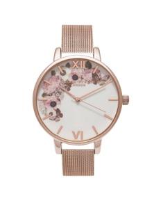Olivia Burton Signature Florals Rose Gold Mesh Watch
