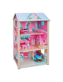Bargene Large Wooden Dolls Doll House 3 Level Kids Pretend Play Toys Full Furniture