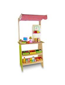 Bargene Kids Wooden Toy Pretend Play Marketplace Stand Fruit Veg Shop Stall Supermarket