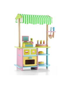 Bargene Kids Wooden Bakery Stand Counter Children Pretend Play Cake Toy Shop With Awning