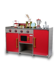 Bargene Wooden Kids Kitchen Pretend Play Set Toy Toddler Children Cooking Home Cookware