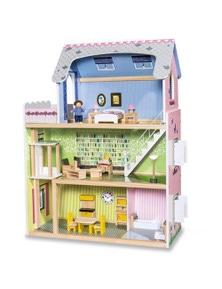 Bargene Wooden Diy Dolls Doll House 3 Level Kids Pretend Play Toys Full Furniture Set