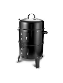 Bargene New 3In1 Portable Charcoal Vertical Smoker Bbq Roaster Grill Steel Water Steamer