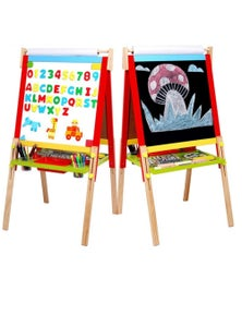 Bargene Kids Easel Art Children Whiteboard Blackboard Stand Wood Magnetic Drawing Board