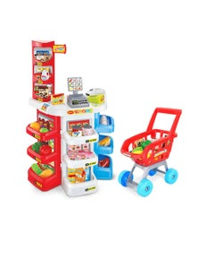 Bargene Kids Supermarket Store Food Pretend Role Play Set Cash Shopping Trolley Toys