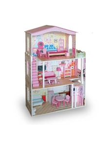 Bargene Large Wooden Dolls Doll House 3 Level Kids Pretend Play Toys Full Furniture