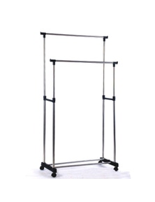 Bargene Portable Stainless Steel Double Clothes Rack Hanger Cloth Coat Garment Dryer