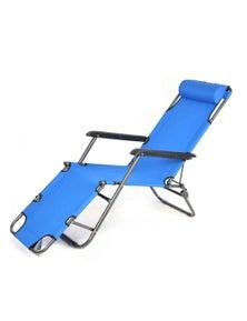 Bargene Reclining Sun Beach Deck Lounge Chair Outdoor Folding Camping Fishing Arm Rest - Blue