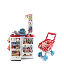 Bargene Supermarket Play Set Grocery Shopping Pretend Role Play W/ Trolley