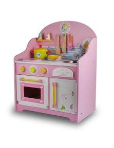 Bargene Wooden Kids Kitchen Toy Pretend Play Set Toddler Children Cooking Home Cookware