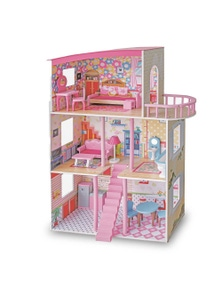Bargene Large Wooden Girls Doll House 3 Level Kids Pretend Play Toys Furniture Dollhouse