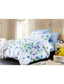 Fabric Fantastic White Leaves Quilt Cover Set