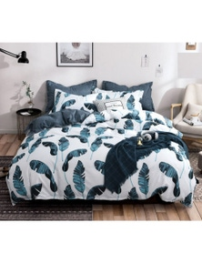 Fabric Fantastic Green Leaves Quilt Cover Set