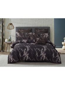 Fabric Fantastic Black Marble Quilt Cover Set