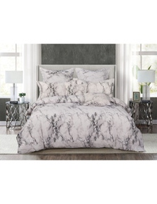 Fabric Fantastic Marble Quilt Cover Set - White