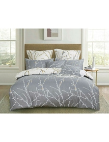Fabric Fantastic Grey Tree Reversible Quilt Cover Set