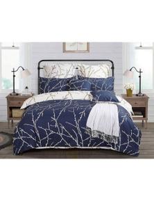Fabric Fantastic Blue Tree Reversible Quilt Cover Set