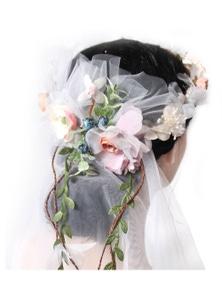 Deluxe Flower Crown w VEIL HEADBAND White Bride To Be Bridal Shower Bachelorette