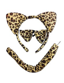 3pcs ANIMAL SET Costume Party Kit Fancy Dress Halloween Tail Ears Bow Tie Unisex