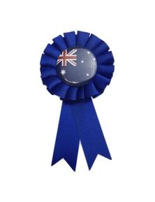 AUSTRALIA FLAG Clip On Ribbon Badge Award Blue Australia Day Tennis Cricket