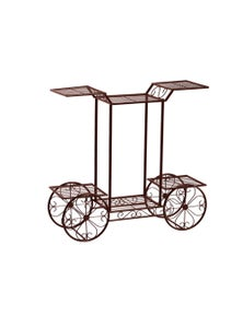 Levede Metal Plant Stand with 6 Plant Pots Space with 4 Wheels