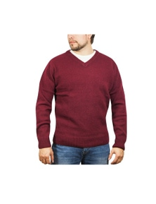 100% SHETLAND WOOL V Neck Knit JUMPER Pullover Mens Sweater Knitted S-XXL New