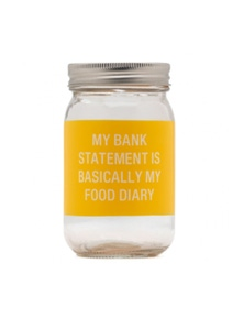 Say What Food Diary Glass Jar Money Bank