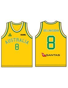 Peak Men's Australia Boomers Basketball Set Singlet + Shorts Sports - Gold/Green