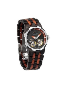Mens Dual Wheel Automatic Ebony And Rosewood Watch