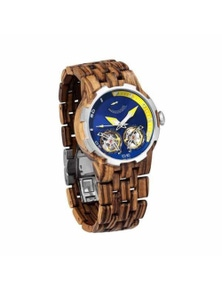 Mens Dual Wheel Automatic Zebra Wood Watch