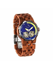 Mens Dual Wheel Automatic Kosso Wood Watch