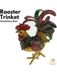 ROOSTER TRINKET JEWELLERY BOX Figurine Home Decor Ornament Chicken Jewelled New