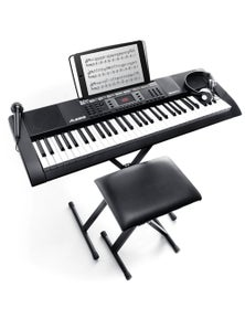 Alesis 61 Keys Electronic Keyboard W/Headphones , Stool And Mic