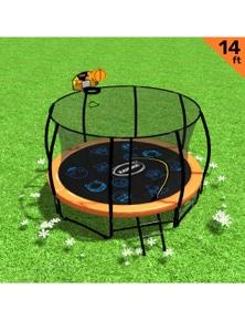 Kahuna Trampoline Pro 14ft - Reversible pad, Emoji Mat, Basketball Set