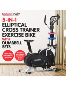 PowerTrain Elliptical Cross Trainer Exercise Bike with Dumbbells, Resistance Bands