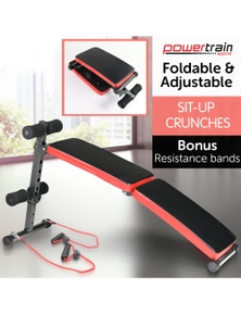 PowerTrain Inclined Sit up bench with Resistance bands