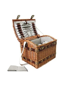 4 Person Picnic Basket Deluxe Outdoor Corporate Blanket Park