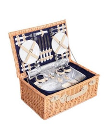 Deluxe 4 Person Picnic Basket Blue Blanket