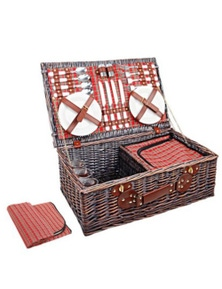 4 Person Picnic Basket Red Handle Outdoor